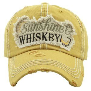Sunshine & Whiskey Yellow Distressed Hat